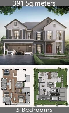 Architecture house 391 square meters - Home Ideassearch How Fire-Safe Is Your School? House Plans 2 Storey, 2 Storey House Design, Sims House Design, Bungalow House Design, Small House Design, Cool House Designs, Modern House Design, Sims 4 Modern House, Sims House Plans