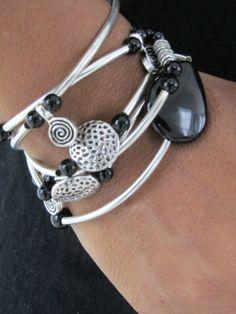 Black Onyx Stretch Bangle Cuff Wrap Bracelet with by wrapsbyrenzel, $39.95