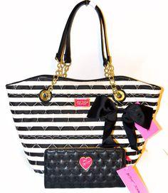 Betsey Johnson Be Mine Dip Black Stripe White Shoulder Tote Bag Wallet Set