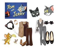 """Tom and Jerry"" by cheesegram ❤ liked on Polyvore featuring J Brand, Gap, Charlotte Olympia, Claire English and Ollio"