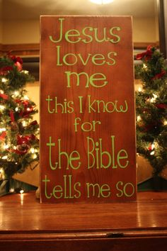 Wooden sign with vinyl lettering Jesus loves me by WordFlower, $40.00