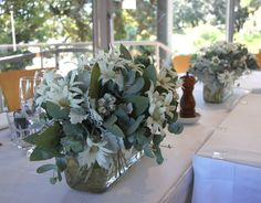 A wedding in Sydney at Dedes Sydney Rowing Club, featuring flannel flower and other australian natives. Flannel Flower, Table Flowers, Centre Pieces, Garden Wedding, Floral Arrangements, Wedding Flowers, Reception, Table Decorations, Pretty