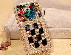 iphone 4s case, iphone 5 case, iphone 4 case skin bling bling iphone case - love diamond iphone 5 cases. $25.99, via Etsy.