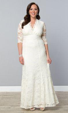 Walk down the aisle in our plus size Amour Lace Wedding Gown.  www.kiyonna.com  #KiyonnaPlusYou  #MadeintheUSA  #Bridal