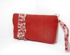 Burlap and  Cotton Ruffles Wristlet  Red by handjstarcreations, $18.00