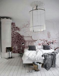 Japanese print wallpaper in bedroom