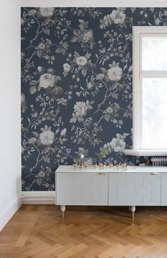 Thorn Rose Wall Decor - evening - rebel walls - over the colors Mural Floral, Blue Floral Wallpaper, Scandinavian Wallpaper, Deco Rose, Rose Wall, Woman Cave, Pattern Wallpaper, Interior Inspiration, Decoration