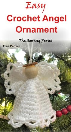 Enjoy this easy crochet angel ornament free pattern! Decorate your Christmas tree with this beautiful handmade easy crochet angel ornament. Christmas Angel Ornaments, Crochet Christmas Decorations, Christmas Crochet Patterns, Crochet Decoration, Crochet Ornaments, Holiday Crochet, Crochet Snowflakes, Crochet Gifts, Easy Crochet Patterns