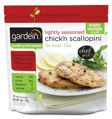 "Gardein Chick'n Scallopini is versatile and delish. I haven't been using a lot of gluten and soy products lately, but even the ""carnivores"" like this stuff."