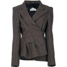 Maison Margiela boxy tweed jacket (€1.940) ❤ liked on Polyvore featuring outerwear, jackets, brown, tweed jacket, collar jacket, faux-leather jacket, boxy jackets and maison margiela jacket