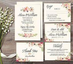 Wedding Invitation Suite Printable Wedding by aquariusds on Etsy