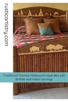 Rustic Cabin - Western Bedroom and bed with Buffalo and Indian carvings Little Cowgirl, Rustic Bedrooms, Honey Colour, Bed Styling, Inspired Homes, Buffalo, Carving, Indian, Traditional