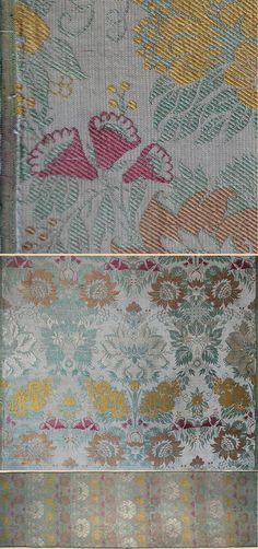 Antique French Textile,Crimson Satin Lampas  Circa 1780-90 Lyon, France