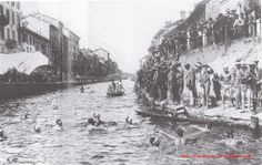 January Cimento Invernale, the first winter swim competition in the Naviglio canal Or Noir, Old Images, Historical Pictures, Vintage Photos, Monochrome, Skyline, Urban, History, Instagram Posts