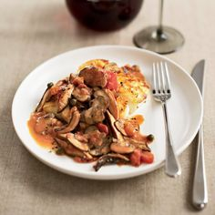 Stephanie Izard's rich, chunky mushroom ragout is great on everything from seared halibut to sautéed scallops and pasta. Use vegetable stock instead ...