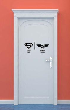 Bathroom Restrooms Sign Men Women Superman by VinylWallLettering, $16.00