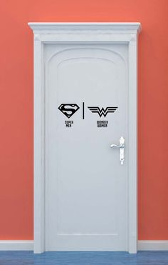 Bathroom Restrooms Sign Men Women Superman by VinylWallLettering                                                                                                                                                                                 More