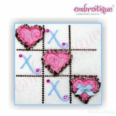 Applique (All) - Tic Tac Toe Hearts Valentine's Day Raw Edge Design - several sizes included on sale now at Embroitique!