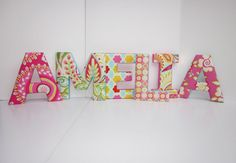 Fabric letters to spell out name.