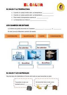 El calor Ficha interactiva Social Science, Teaching, School, States Of Matter, Human Body Systems, Teaching Chemistry, Heat Transfer, 2nd Trimester, Plant Parts