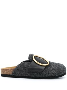 Anthracite grey leather flat buckled mules from JW Anderson featuring branded insole, slip-on style, round toe and buckle fastening. Leather Flats, Grey Leather, Leather Bag, Loafer Mules, Loafers, Fuzzy Slippers, Going Gray, Slip On