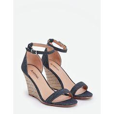 Justfab Wedges Nikola ($40) ❤ liked on Polyvore featuring shoes, sandals, blue, wedge shoes, platform wedge shoes, high heel wedge sandals, high heel shoes and platform shoes