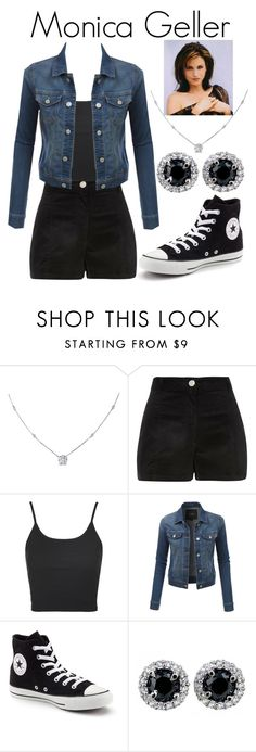 """Modern Day FRIENDS: Monica Geller"" by angelxalice ❤ liked on Polyvore featuring Ice, Topshop, LE3NO, Converse, modern, classic, chic, simple, friends and MonicaGeller"