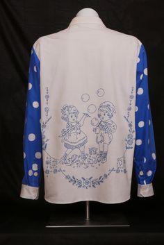 Blow male shirt Strong cotton. Embroidery by Aili The Granny. Size M. WILL ELLE collection, SYSI design