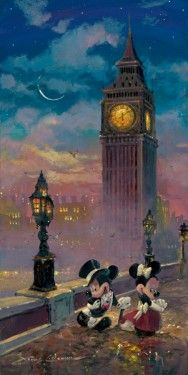 """""""Mickey and Minnie in London"""" by James Coleman - Limited Edition of 195 on Hand-Embellished Canvas, 24x12."""
