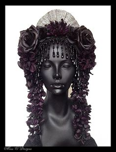 MADE TO ORDER Black & Purple  Flower Headdress