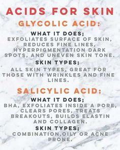 Acids for skin.