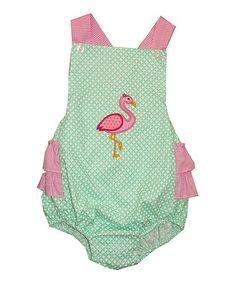 Loving this Aqua & Pink Flamingo Appliqué Bubble Romper - Infant on #zulily! #zulilyfinds