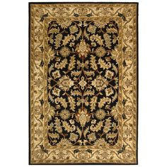 Beautify your floor with this handmade Oriental wool rug. Featuring hues of black, gold, and sage that make it easy to match, this traditional rug has a soft, thick pile that makes it comfortable underfoot and a canvas backing for durability.