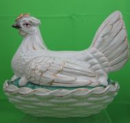 Staffordshire Hen on Nest Tureen, White & Gold, c. 1850 from Black-Eyed Susan's Antiques.