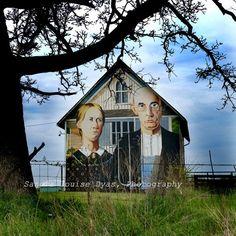American Gothic on Iowa Barn - Grant Wood Replica Painting - Color Photograph 12 x 12 - Fine Art. $48.00, via Etsy.