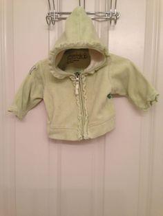 Sheababy naturals organic cotton celery green velour hoodie ruffle trim 6-12m #Dress