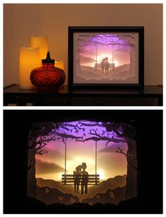 Handmade Paper Shadowbox Art by HeartlessPaperArts Shadow Light Box, Diy Shadow Box, Shadow Art, Fine Paper, 3d Paper, Paper Crafts, Kirigami, Silhouette Art, Silhouette Cameo Projects