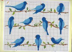Blue birds in cross stitch
