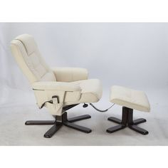 Massage Chair Recliner & Ottoman Remote Cream |MyDeal $279 + delivery