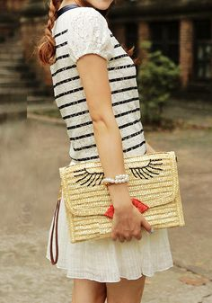 Straw Face Print Clutch with Strap - Foldover Flap Bag