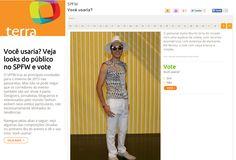 Blusa com recortes, estampa diamante, calça branca, chapéu aba grande - Murilo Grilo  www.estiloman.com.br