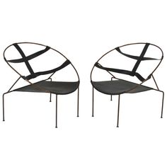 Pair of Brazilian Lounge Chairs by Flavio de Carvalho | From a unique collection of antique and modern lounge chairs at http://www.1stdibs.com/furniture/seating/lounge-chairs/