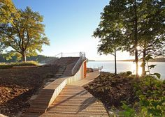 This wooden viewing platform looks out over Latvia's River Daugava