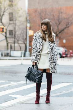 Best Winter Sales Shop Affordable Style | Margo & Me. White turtleneck ruffe blouse+white skirt+burgundy over the knee suede boots+white leopard printed coat+black handbag. Winter Business Casual Outfit 2017
