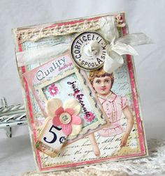 Such a sweet card in her usual soft and sugary colors and lots of layering!  Card by Beatriz Jennings.