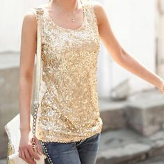 Cheap fitness sites, Buy Quality fitness pin directly from China fitness tank top Suppliers: 2015 Shiny Black/Gold Sequin Tank Top For Women Sexy Lantejuelas Vest Bodycon Fashion Top S- Sequin Tank Tops, Sequin Top, Embellished Top, Outfit Semi Formal, Bodycon Fashion, Black Sequins, Black Gold, Metallic Gold, Gold Top