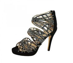"""https://www.cityblis.com/4421/item/16643   OLIVIA - $125 by SCHEÉ   Looking for an elegant shoe for an upcoming winter wedding? """"Strap"""" it up to the Olivia by Caitie Liz! Black suede and crystals will guarantee compliments all evening.   #Heels"""