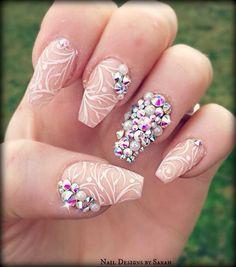 Nude, White, and Diamond stud ballerina nails