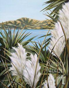 Kirsty Nixon New Zealand contemporary landscape artist, detailed realist paintings, Rangitoto, NZ beach scenes, coastal Tropical Art, Tropical Paintings, New Zealand Art, Nz Art, Maori Art, Contemporary Landscape, Beach Scenes, Wildlife Art, Beautiful Artwork