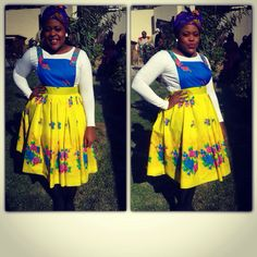 African print dungaree dress Nozu Like the page on facebook  Nozu Tsonga fashion African Print Dresses, African Wear, African Women, African Dress, African Fashion, African Prints, Tsonga Traditional Dresses, Dungaree Dress, Culottes
